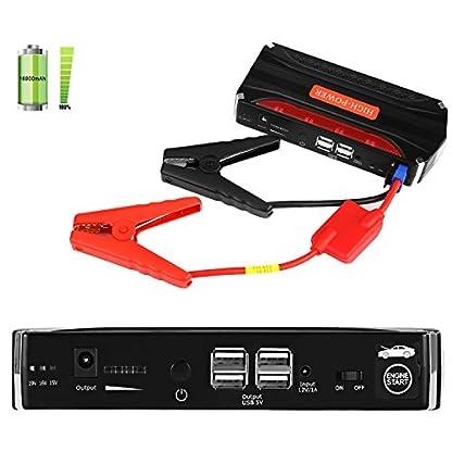 51grZGU3R2L. SS416  - Jump Starter Batería Portátil de Emergencia para coche, YOKKAO Arrancador de Emergencia para coche 16800mAh 600, Kit de Arranque para coche con USB, Luz LED, Cargador Power Bank para Coche, Moto, Laptop, Smartphone, etc.