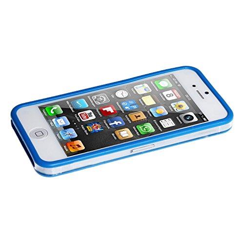 wortek TPU & Plastik Bumper Schutzhülle Apple iPhone 5 / 5S Transparent / Gelb Transparent / Blau