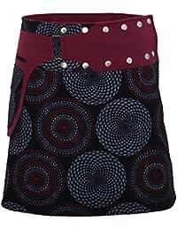 90fbe9651ed6e5 PUREWONDER Damen Wickelrock Baumwolle Rock mit Tasche sk172