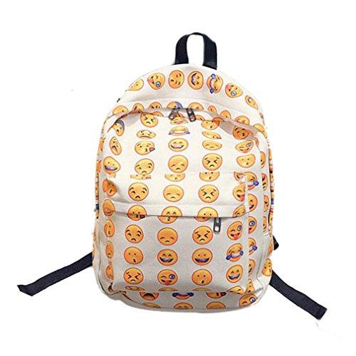 Imagen de malloom chica mujer sonriente emoji impresión  bolso lindo viaje  bolsa para la escuela blanco