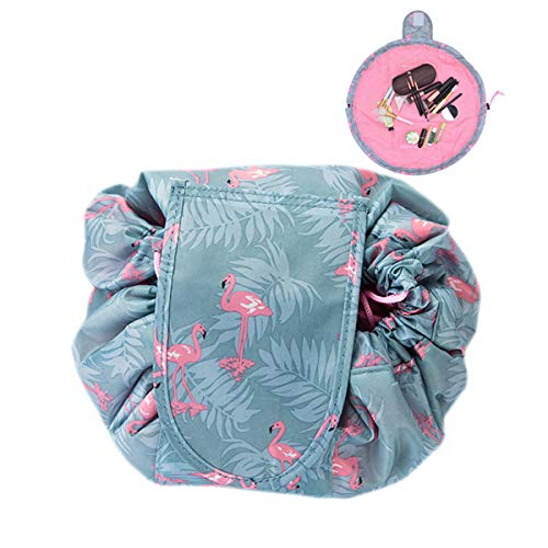 LANUCN Lady Makeup Lazy Bag Large Capacity Drawstring Cosmetic Bag Portable Travel Organizer Toiletry Pouch Storage Waterproof Lightweight (Flamingo)