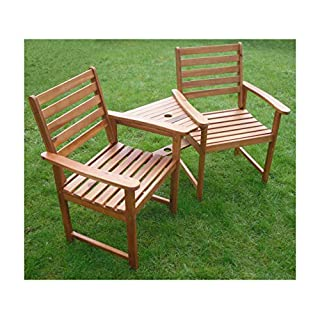 Ascot Hardwood Garden Bench Companion Set Love Seat Great Outdoor Furniture For Your Garden or Patio