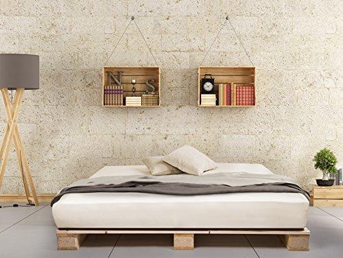 PALETTI Massivholzbett Holzbett Palettenbett Bett aus Paletten – hergestellt in Deutschland – Fichte natur
