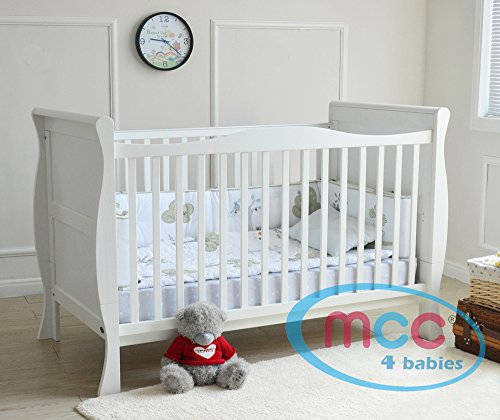 MCC Solid Wooden Baby Cot bed Sleigh Cotbed Toddler Bed & Premier Water repellent Mattress Made in England
