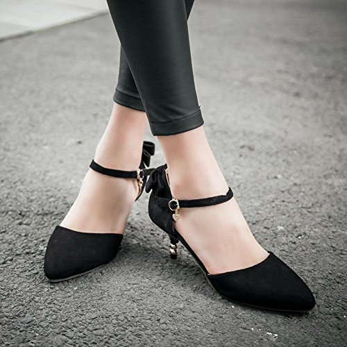 Mee Shoes Damen modern speziell bequem Kitten-Heel spitz Nubukleder ankle strap Schnalle Schleife Knöchelriemchen Pumps Schwarz