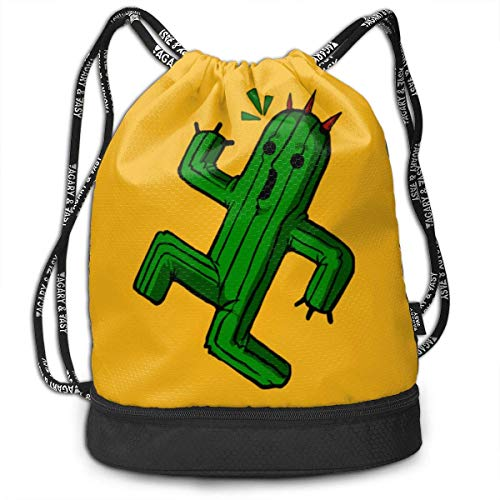 ewtretr Turnbeutel Hipster Sporttaschen Scare Silly Cactus Drawstring Backpack Compartment Sport Bag (Cactus Converse)