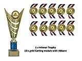 Go Karting Trophy Party Pack,Comprises 1 x 270mm Trophy & 10 x Gold Go Kart Medals