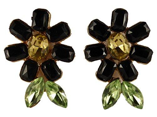 Ohrringe Ohrstecker Stecker schwarze Blume / Blüte Flora Gothic Straß 7668 -