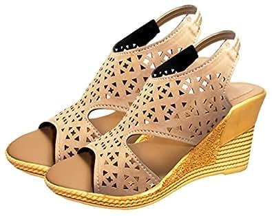 Ziaula Womens Casual Wedges Heel Sandal Beige Color