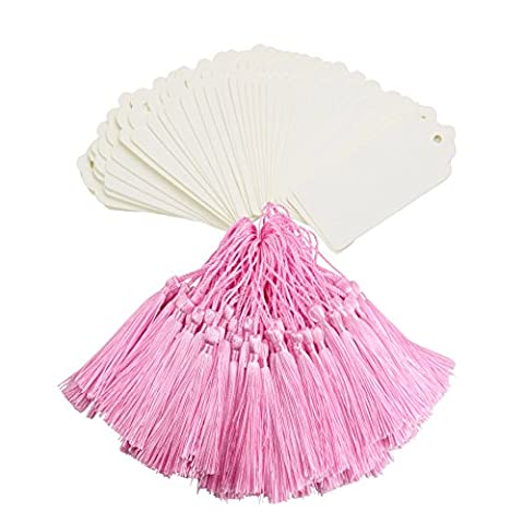 Makhry 100Pcs Imported Vintage Hard Kraft Paper Bookmarks Paper Gift Tags Wedding Favor Bonbonniere Favor with Handmade Silky Tassels (White&Pink)