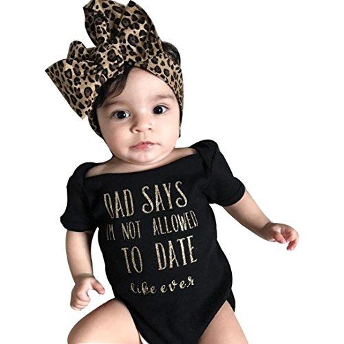 Strampelanzug URSING Süßes Baby Prinzessin Mädchen Säugling Brief Drucken Kurzarm Jumpsuit Overall Romper Strampler+ Bowknot Stirnband Outfits Kleidung Set Babyausstattung (80, Schwarz)