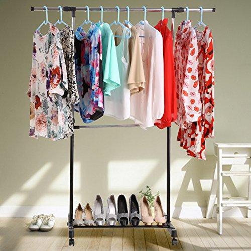 Laiozyen Industrie Kleiderständer mit Schuhablage auf Rollen Garderobenständer ausziehbar zusammenklappbar Höhenverstellbar (Color1)