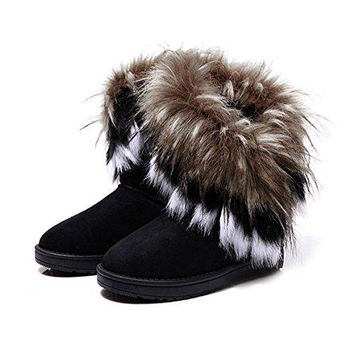 Damen Winter Schneestiefel Winterstiefel Stiefeletten Schlupfstiefel Boots Warm Pelz Stiefel, Schwarz, Gr. 39