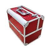 AUFUN Kosmetikkoffer mit 2 Klappschlössern Groß Schminkkoffer für Gepäck XL 320 * 210 * 260mm Make-up Case aus Alu, Edelstahl (17L, Rot)