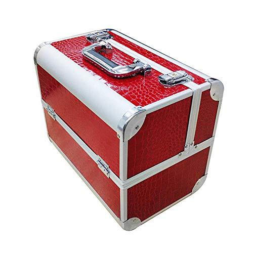 AUFUN Kosmetikkoffer mit 2 Klappschlössern Groß Schminkkoffer für Gepäck XL 320 * 210 * 260mm Make-up Case aus Alu, Edelstahl (17L, Rot) -