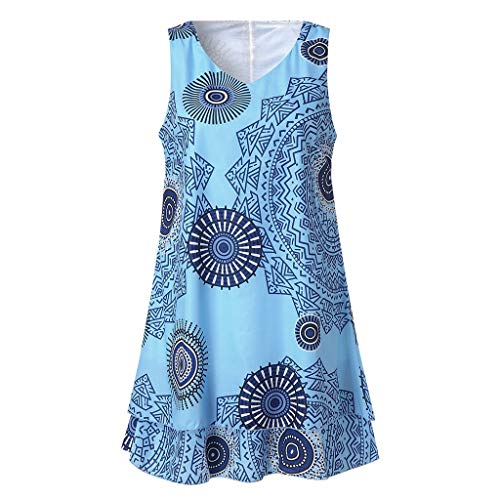 TYTUOO Frauen Midi Kleid Plus Size Print Midi Kleid Loose Shift Sleeveless Tank Vest Sun Dresses