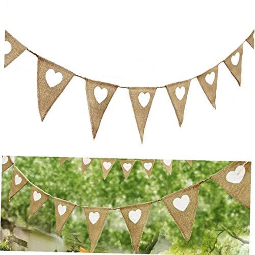7pcs Flags Herz Der Liebe Rustic Jute Leinwand Garland Bunting Banner Weinlese Für Dekoration Pennant Braut Hochzeit Halloween-Geburtstags-Party