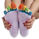 Bluelover Colorido Cinco Dedos Dedo Del Pie Yoga No Antideslizante Resbalón Calcetines Pilates Gimnasio Ejercicio Fitness
