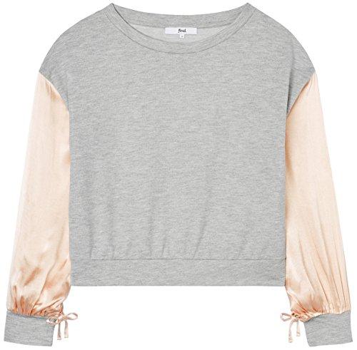 FIND Damen Bluse mit Puffärmeln Grau (Grey Mix), 38 (Herstellergröße: Medium)