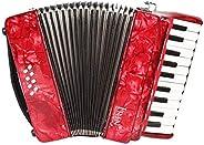 Volwco 22 teclas 8 bajo piano acordeón, instrumento de música de acordeón de piano profesional con correas gua