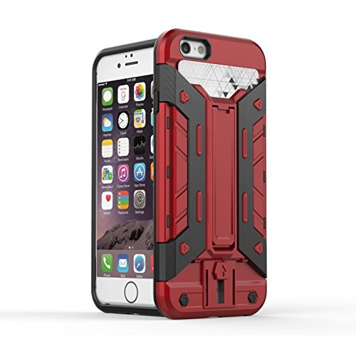 """Iphone 6 Case,Lantier Mech 3 en 1 plastique dur High Impact Hybrid antichoc Deluxe Mode Combo Full corps avec Béquille Housse de protection pour Apple Iphone 6 4.7 """"Red Red + Black"""