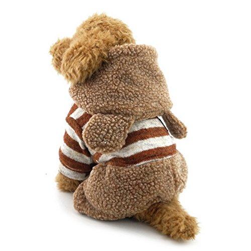 Billig Kostüm Bunny - selmai Fleece Hundemantel gestreift Overall Bunny klein Hund Winter Kleidung