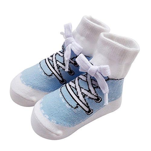 Sanlutoz Chaussons bébé Chaussettes nouveau-né Garçons étage Chaussettes coton (12-24 mois, SOCKA014-LB)
