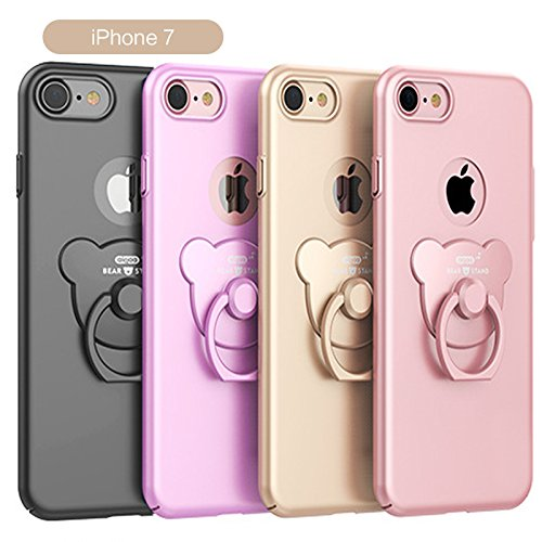 Iphone 7 Case , Koala group® Creative Phone case with Winnie the ring bracket Case Cover for Iphone 7 (Gold) Black