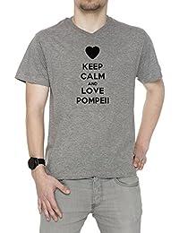 Keep Calm And Love Pompeii Hombre Camiseta V-Cuello Gris Algodón Manga Corta Men's T-Shirt V-Neck Grey