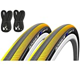 Schwalbe Lugano 700c x 23 Road Racing Bike Tyres (Pair) & Presta Inner Tubes - Yellow