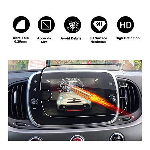 RUIYA Gehärtetem Glas Displayschutzfolie für 2017 2018 FIAT 500 Uconnect 7.0 Navigations System, Unsichtbare und Transparente Film, Crystal Clear HD Displayschutz, Anti-Kratz -