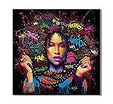 Art Mural Fille Afro-Américaine, Image Abstraite Moderne De Graffiti De Femmes, Affiches De Mode Féminine, Peinture Colorée, Pour La Maison Ou La Décoration De Salon, Pas De Cadre,White,60x60cm