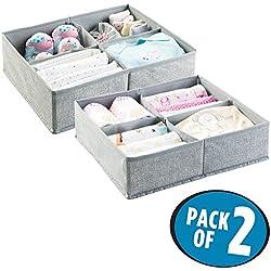mDesign Juego de 2 organizador para bebés - Caja organizadora con cuatro compartimentos para pañales, toallitas, etc. - Organizador de juguetes y articulos de bebés - Color: gris