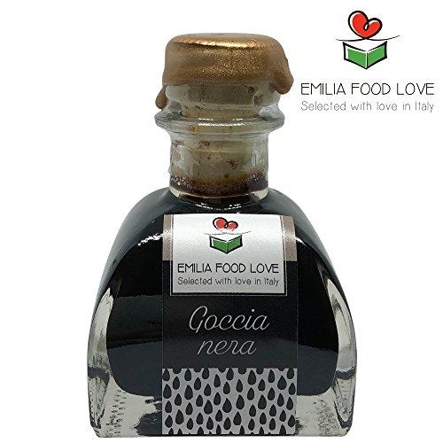GOCCIA NERA - Condimento balsámico negro 8 años de edad - Made in Italy - EMILIA FOOD LOVE - Selected with Love in Italy- Condimento Balsamico invecchiato 8 anni
