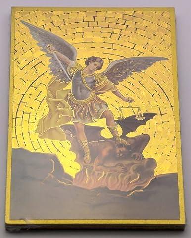 ST MICHAEL Schutzengel Mosaik Wandschild + Lourdes Karte