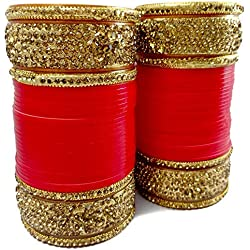BACHATWALA Red Designer Gold Stone Chura Bridal Dulhan Wedding/Engagement Punjabi Choora Fashion Jewellery Chuda Set - Size 2.4