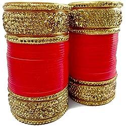 BACHATWALA Red Designer Gold Stone Chura Bridal Dulhan Wedding/Engagement Punjabi Choora Fashion Jewellery Chuda Set - Size 2.4