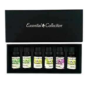 Classic Set of 6 Therapeutic Grade Essential oils 10ml. Beautiful Essential Oils Kit to Help you Relax. The Perfect Aromatherapy Oil Kit. Great for Bath Oils, Oil Diffusers, Oil Blends, Burner. 100% Money Back Guarantee