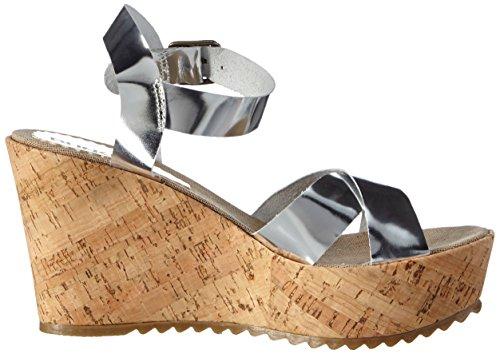 BUNKER Damen Sandal Knöchelriemchen Silber (Silver)