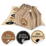 10 kleine braune Geschenkboxen Schachteln Holz-Optik 9 x 12 x 6 cm ohne Griff + 24 runde Aufkleber Glückwünsche braun weiß schwarz Kork-Kraftpapier-Optik Ø 4 cm Verpackung