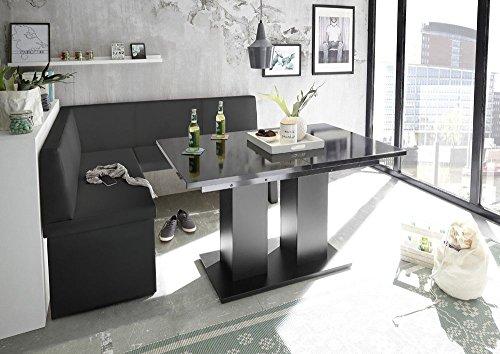 Mystylewood Eckbank Olga Schwarz mit Säulentisch Schwarz Küchenbank Sitzecke dick gepolstert Kunstleder pflegeleicht stabiles Holzgestell 128x168L