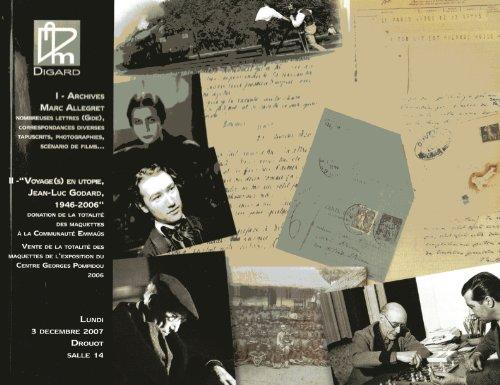 Archives Marc Allegret - Nombreuses Lettres - Correspondances Diverses - Tapuscrits - Photographies - Scenario De Films - Voyages En Utopie, Jean Luc Godard, 1946-2006, Maquettes De L Expo. du Centre Pompidou
