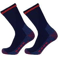 Well Knitting 3paia calzini da escursionismo da lavoro misto lana Merino Outdoor pesanti, Navy, 11-14