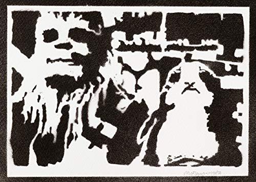 Póster Chewbacca Y Porg STAR WARS Grafiti Hecho A