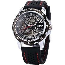 Hombre Reloj - winner Reloj Hombre Esqueleto Mecanico Automatico, Correa de Silicona Negro PMW081
