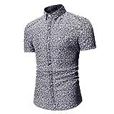 Felicove Herren Bedrucken Hemd Sommer Poloshirt Herren Kurzarm Freizeithemd Geschäft Maßhemden Herren Hemden Slim Fit Button Down Hemd
