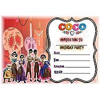 Disney Coco cumpleaños fiesta invita a–diseño de paisaje marco accesorios de fiesta/accesorios (Pack de 12invitaciones A5) WITH Envelopes