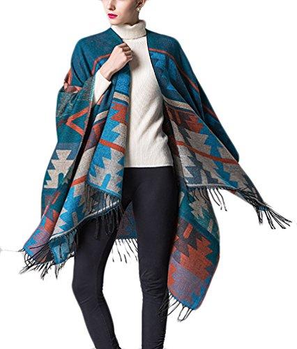 Donna Poncho Scialle Knitted Eleganti Vintage Geometrie Pattern Mantellina Tassels Etniche Mantelle Moda Giovane Bohemian Calda Inverno Reversibile Grande Sciarpa Cardigan Cappotto Verde