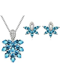 Silver Shoppee The Blue Spark Rhodium Plated Crystal And Cubic Zirconia Studded Alloy Pendant Set For Girls And...