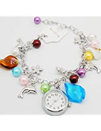 SODIAL(R) Reloj de Cuarzo Pulsera para Mujeres Chicas, Colgante de Cuentas Delfin